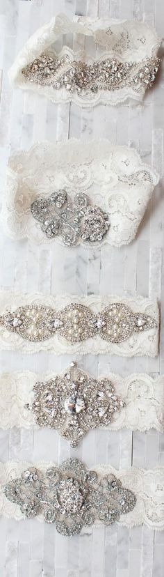 Beautiful vintage inspired garters with stretch white lace and crystal appliques. Are you planning a vintage style wedding? Shop our vintage and antique inspired engagement rings at www.Feltnoir.com! The perfect engagement ring site for all budgets and every bride-to-be.