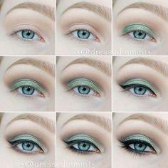 Eye make up. - GREEN cut crease / step by step Eye Makeup, Kiss Makeup, Beauty Makeup, Hair Makeup, Smoky Eye Tutorial, Green Makeup, Nagel Gel, Tips Belleza, Makeup Goals