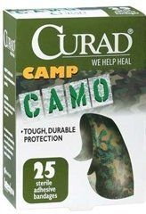 Bandage Camo Green Curad 25 ct. - Medline CUR by mc. $1.85. These latex-free adhesive bandages are designed to fit kid-sized wounds and the fun colors and characters help turn frowns upside down. Green Camouflage, 25 count.