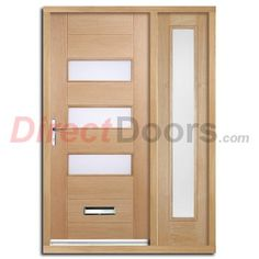 image of stockholm exterior oak door and frame set with one side screen and frosted double