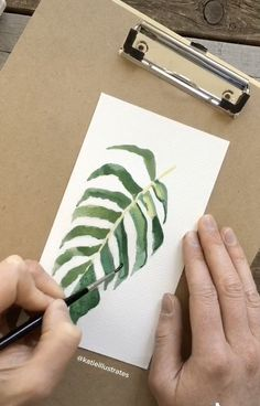 Discover recipes, home ideas, style inspiration and other ideas to try. Watercolor Plants, Watercolor Leaves, Easy Watercolor, Painting Leaves Acrylic, Green Watercolor, Gouache Painting, Leaf Illustration, Small Canvas Art, Plant Painting