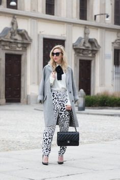 Milan Fashion Week AW16: oversized gray coat, black and white bow blouse, leopard print high waist pants, Chanel Jumbo classic flap bag black caviar with silver hardware, Milan Fashion Week FW16 street style