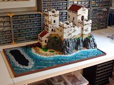 Lego Pirate Ship, Lego Ship, Lego Mountain, Lego Structures, Lego Display, Cool Lego Creations, Lego Design, Lego Worlds, Lego Stuff