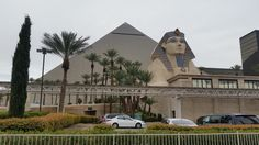 Walked to the Luxor through the Excalibur and went outside the front to see the sphinx. Took a while to realize we were standing under it.