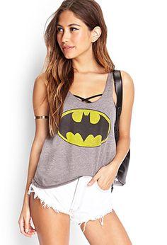 Batman Racerback Tank Top | FOREVER21 - shorts, shirt top, bracelet