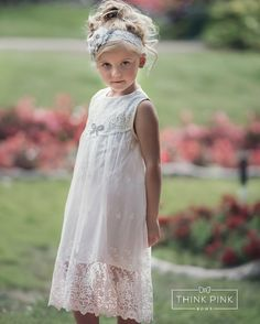 JOIN OUR FB PAGE FOR WEEKLY GIVEAWAYS, COUPONS AND SPECIAL OFFERS!   http://www.facebook.com/ThinkPinkBows  With a beautiful vintage inspired look, this dress is perfect for any little girl and occasion! You will fall in love with this super chic feminine MADELINE Lace dress. This OFF WHITE lace dress has so many beautiful details. Made of soft and delicate lace in a stunning off white color, perfect for any occasion. The top of the dress features a beautiful floral fabric over...