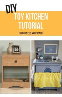 old furniture Have an old nightstand or piece of furniture laying around? Easily turn it into a DIY toy kitchen with this step by step tutorial! Bedroom Furniture Redo, Diy Garden Furniture, Old Furniture, Kitchen Furniture, Classic Furniture, Furniture Ideas, Furniture Dolly, Furniture Movers, Furniture Stores