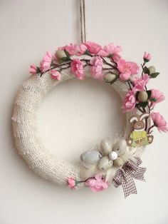 FREE Shipping, Easter Wreath Bunny, Easter Bunny Ornament, EASTER Decor, SPRING Wreath, Blossom Flower Wreath,Easter Wreath Pink,Pink Easter