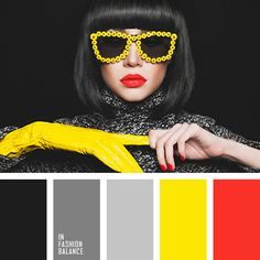 black, bright yellow, canary yellow, eccentric glasses, red lips, red lips brunettes, red manicure, scarlet color, yellow and bright red.