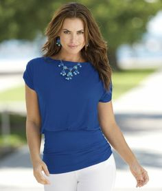 Bateau Neck Ruched Top from Monroe and Main.   A versatile basic with cool comfort and chic coverage.