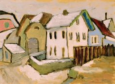 Houses on Wintry Road1910–11. Gabriele Münter 1877–1962, oil on canvas, 13 × 16 in. (33.02 × 40.64cm)