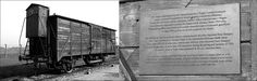 The authentic train car standing on the unloading ramp of the Auschwitz II-Birkenau camp with the commemoration plaque.