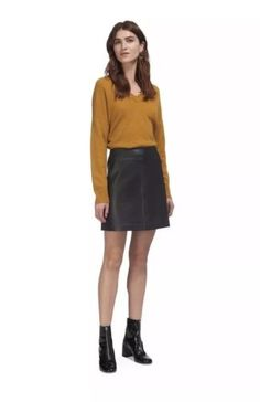 A Leather Skirt outfit for over knee boots    Check this amazing product by  going to the link at the picture. bd25cd930