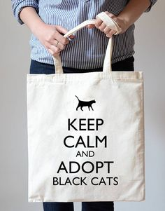Keep Calm and Adopt Black Cats Cotton Canvas Tote Bag