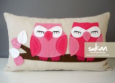 Sukan / Owls Pillow Cover - 12x20 inch - Beige, Pinks, White, Brown Color. via Etsy.