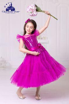 04c2ebcc1e498a5 Нарядное платье для девочки на прокат в Днепре. Короткое пышное детское  вечернее платье аренда Днепр. «Бэтти» (малиновые пайетки)
