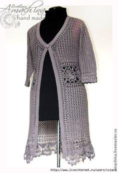Cardigans Crochet, Crochet Clothes, Knitting Stitches, Knitting Patterns, Crochet Patterns, Crochet Jacket, Crochet Cardigan, Crochet Lace Edging, Crochet Top