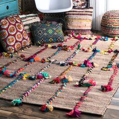 Hand Woven Kanesha Braids On Rug