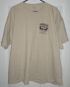 Men's Tan & Black AIRBORNE FT. BENNING GA BRAVO COMPANY Shirt, Size 2XL, GUC! #GILDAN #CrewNeck
