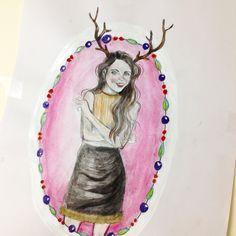 Festive fashion illustration by Paige Joanna