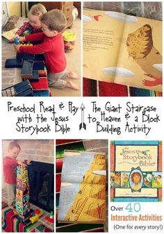 Preschool Read and Play with the Jesus Storybook Bible: The Giant Staircase to Heaven and a Block Building Activity ~ Part of the Jesus Storybook Bible Hands On Activity Series