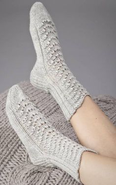 Lovely socks by Novita. Diy Crochet And Knitting, Knitted Slippers, Knitting Charts, Crochet Slippers, Knitting Socks, Baby Knitting, Knitting Patterns, Lace Socks, Wool Socks
