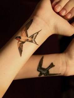 *Beautifully* detailed swallows - done by Sam at Urban Art in AZ     #tattoo #bird #swallow