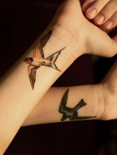 *Beautifully* detailed swallows - done by Sam at Urban Art in AZ     #tattoo #bird #swallow