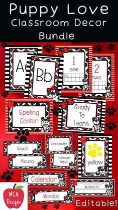 My Puppy Love Editable Classroom Décor Bundle features all you need to have a fresh new look for your classroom this fall! Check out the preview for a quick look at this colorful theme. My Puppy Love Classroom Décor Bundle features my ENTIRE Puppy Love collection including several editable features! #teacherspayteachers #tpt #classroommanagement #backtoschool Classroom Décor, Classroom Supplies, Classroom Posters, Teaching Schools, Teaching Kids, Elementary Schools, Elementary Teaching, Second Grade Math, Classroom Management