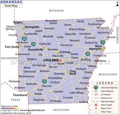State of Arkansas Map with outlines of road networks, includes ...