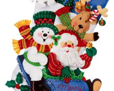 "Bucilla Sledding Friends~ 18"" Felt Christmas Stocking Kit #86020 Santa, Frosty DIY"