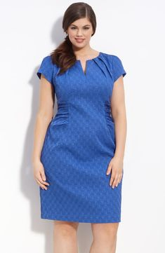 Free shipping and returns on Adrianna Papell Jacquard Split Neck Dress (Plus) at Nordstrom.com. <p>Textured tonal jacquard lends depth to a cap-sleeve dress shaped with a pleated neckline and contoured ruched insets at the sides.</p>
