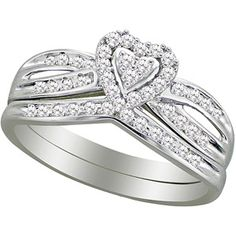OR this one??....Forever Bride 1/3 Carat T.W Diamond 10K White Gold Heart Bridal Set