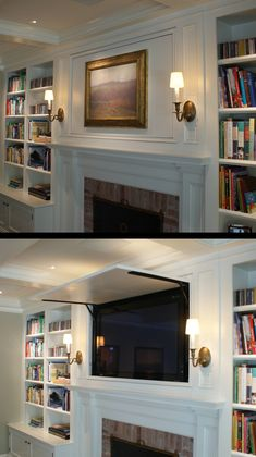 Wonderful Free mantle Fireplace Mantels Concepts Traditional Style, Fireplace Mantel, Built-Ins, Hidden TV, Hide… in 2020 Hide Tv Over Fireplace, Fireplace Bookshelves, Fireplace Built Ins, Home Fireplace, Bookshelves Built In, Fireplace Remodel, Living Room With Fireplace, Fireplace Design, Fireplace Frame