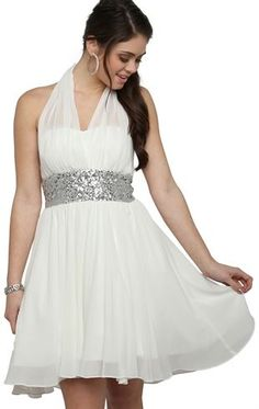 Deb Shops #Chiffon High Low Halter #Prom #Dress with Empire Waist #Sequin Trim $64.90