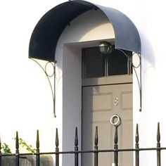 Over Door Porches - Door Canopy Designs - Metal Planters Over Door Canopy, Door Canopy Porch, Awning Over Door, Porch Doors, Front Doors, Porch Awning, Front Porch, Canopy Bedroom, Diy Canopy