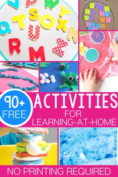 90 free learning activities for preschool and kindergarten that don't require a printer! All the materials can be found easily in most homes or adapted to work with whatever supplies you have! Kindergarten Reading Activities, Graphing Activities, Alphabet Activities, Color Activities, Preschool Activities, Preschool Kindergarten, Home Learning, Fun Learning, Toddler Activity Board