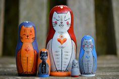 Handmade Matryoshka Russian nesting dolls -Babushcats