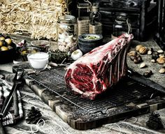 Man. Meat. Fire. The feast. Raw. Prime-grade. 28 day dry-aged. Bone-in &…