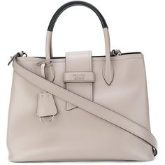 Prada Paradigm tote bag (€2.310) ❤ liked on Polyvore featuring bags, handbags, tote bags, tote purses, leather tote handbags, brown leather purse, prada purses and leather totes
