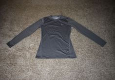 Under Armour Mens Gray Cold Gear Fitted Crew Neck Long Sleeve Shirt Size Large L #UnderArmour #ShirtsTops