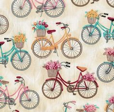 Novelty Quilt Fabric- Off White Bikes With Baskets. Would love to make a shower curtain for our bike-themed bath. Bicycle Art, Bike, Bicycle Tools, Retro, Decoupage Paper, Flower Basket, Joanns Fabric And Crafts, Clipart, Fabric Patterns