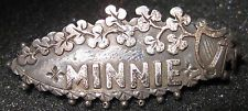 Antique Victorian English Sterling Silver Brooch Named Minnie Flowers Harp Victorian Names, Victorian Jewelry, Vintage Jewelry, Name Jewelry, Silver Brooch, Harp, Brooch Pin, Brooches, Initials