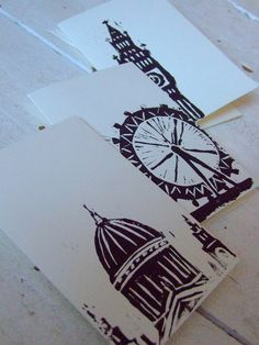 A chic black and white London themed linoprint card set.