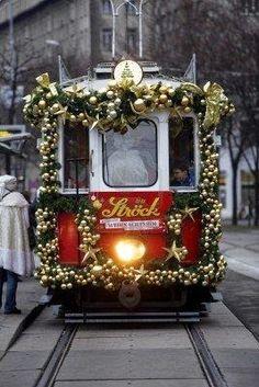 Christmas Tram in Vienna, Austria