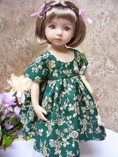"""13"""" Effner Little Darling Lovely Dark Green Dress"""