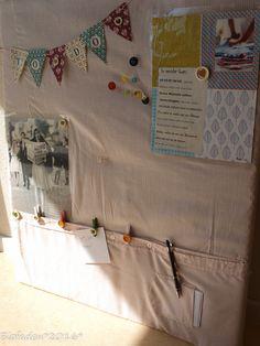 Upcycling Pinwand aus altem Herrenhemd, alten Knöpfen, Stecknadeln und Dekosachen...