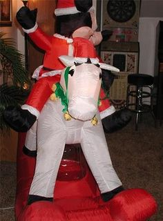 6' Foot Christmas Disney Inflatable Mickey on Rocking Horse Airblown Lighted | eBay