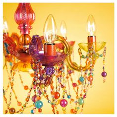Totally tacky but kinda cute! Tesco Marie Therese chandelier multi-colour - I want this for my art studio!!