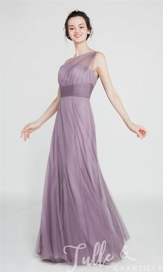 Elegant Long Tulle Illusion One Shoulder Bridesmaid Dress TBQP405 click for 40+ colors